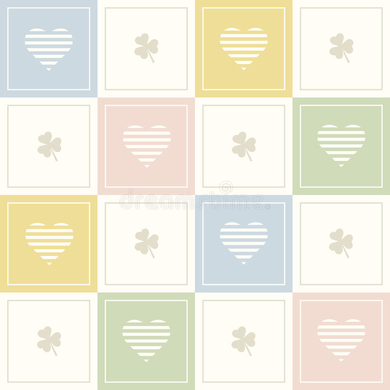 Abstrakcjonistyczny Geometryczny Deseniowy tło Z Kolorowymi kwadratami, Trzy liść koniczynami I Delikatnymi sercami, ilustracji