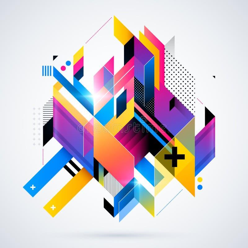 Abstrakcjonistyczny geometryczny element z kolorowymi gradientami i jarzyć się światłami Korporacyjny futurystyczny projekt, poży ilustracja wektor