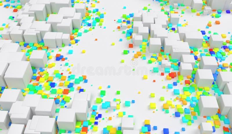 Abstrakcjonistyczny geometryczny kolorów sześcianów przypadkowy umieszczający na tła 3d ilustracji ilustracja wektor