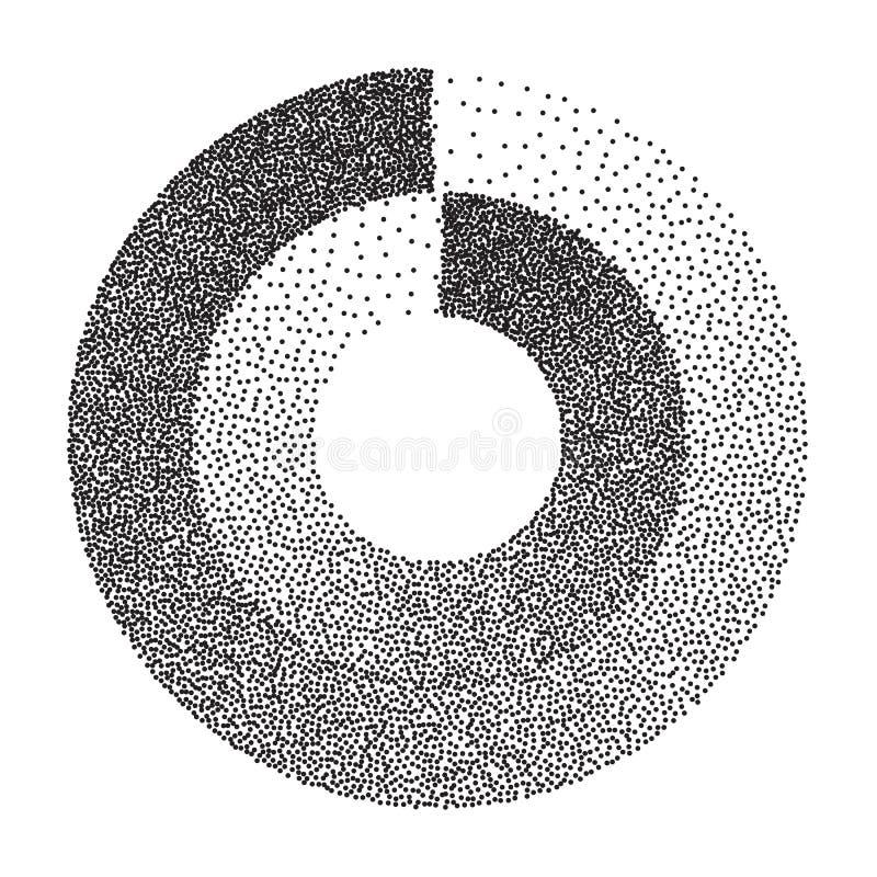 Abstrakcjonistyczny Geometryczny kształta wektor Czerń Kropkowany Round okrąg Hałas, Grunge tekstura kolory w półtonach tła logo  ilustracji