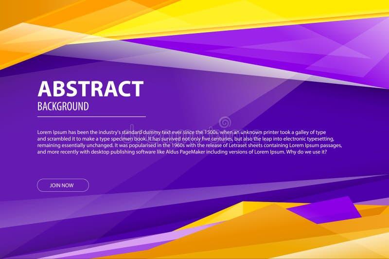 Abstrakcjonistyczny geometryczny linia wzoru t?o dla biznesowego broszurki pokrywy projekta fiołek, kolor żółty, pomarańczowy wek ilustracja wektor