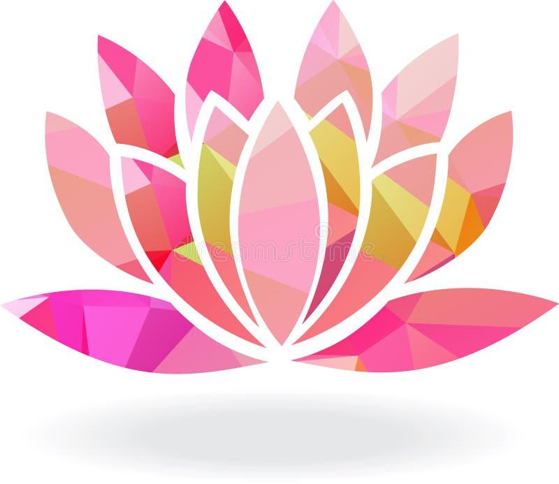 Abstrakcjonistyczny geometryczny lotosowy kwiat w wieloskładnikowych kolorach royalty ilustracja