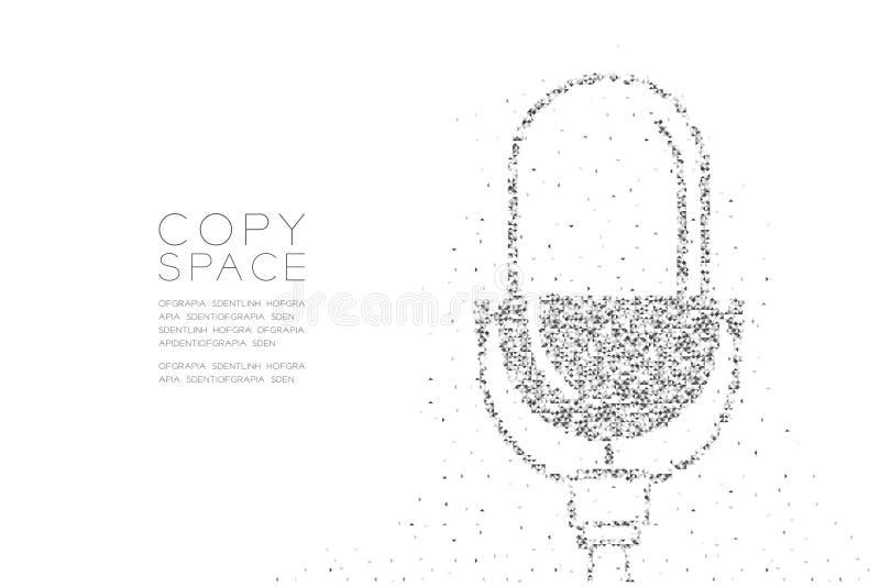 Abstrakcjonistyczny Geometryczny Niski wieloboka kwadratowego pudełka piksel i trójboka deseniowy Retro mikrofon, Muzyczny wyposa ilustracji