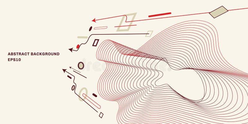 Abstrakcjonistyczny geometryczny perspektywiczny tło z płaskim modnym minimalnym stylowym tłem Strza?a, okr?g, kwadrat, kreskowi  ilustracji