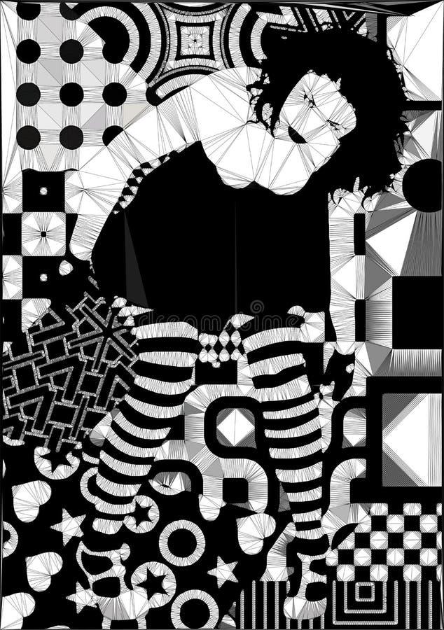 Abstrakcjonistyczny geometryczny projekt kształtuje goth kobiety royalty ilustracja