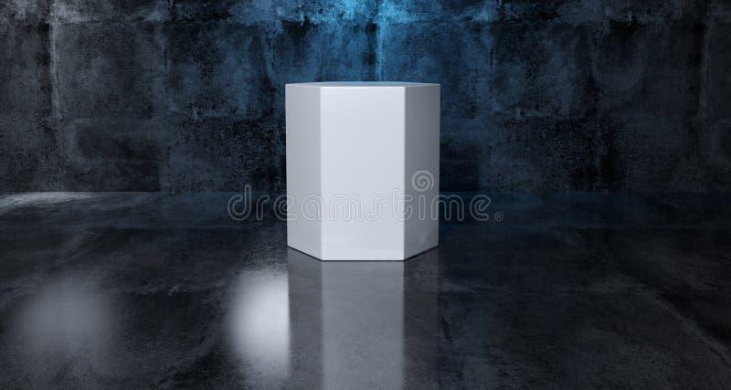 Abstrakcjonistyczny Geometryczny Prosty Pierwotny kształt Biały Heksagonalny Cylind ilustracji