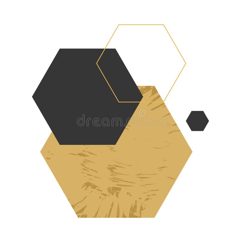 Abstrakcjonistyczny geometryczny skład z dekoracyjnymi sześciokątami ilustracji