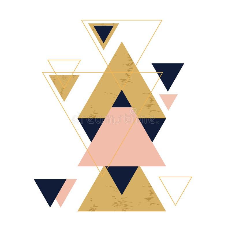 Abstrakcjonistyczny geometryczny sk?ad z dekoracyjnymi tr?jbokami royalty ilustracja