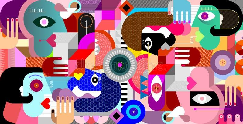 Abstrakcjonistyczny Geometryczny Stylowy grupa ludzi ilustracji
