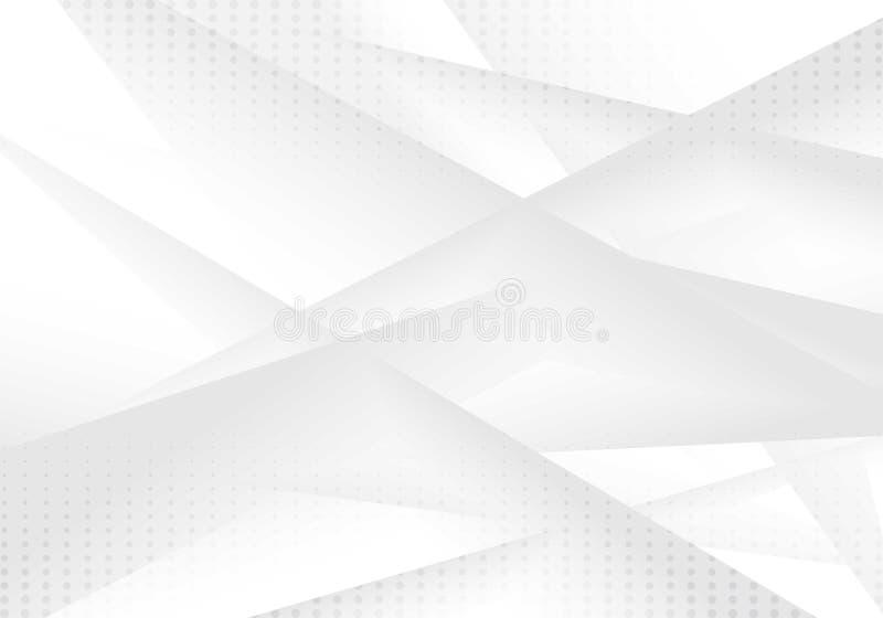 Abstrakcjonistyczny geometryczny szarość i bielu koloru gradientowy tło z kropka wzorem Halftone styl Ty możesz używać dla okładk royalty ilustracja