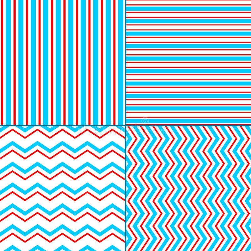 Abstrakcjonistyczny geometryczny szewron i lampasa bezszwowy wzór ustawiamy w błękitnej czerwieni bielu, wektor ilustracji