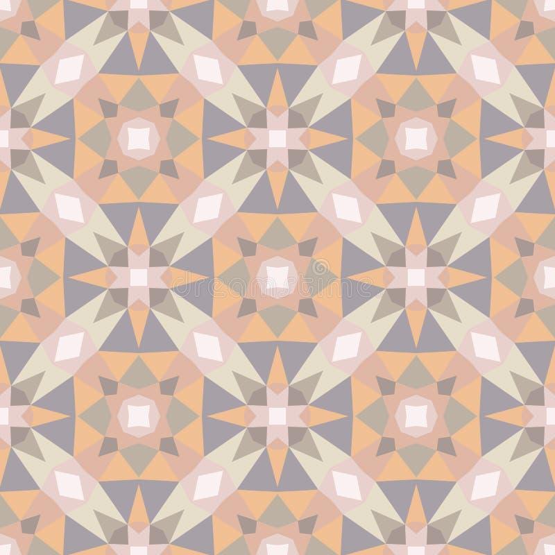 Abstrakcjonistyczny geometryczny tło - bezszwowy wektoru wzór w lekkich pastelowych kolorach Etniczny boho styl Mozaika ornamentu royalty ilustracja