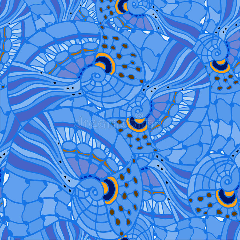Abstrakcjonistyczny geometryczny tło linie i spirala błękitny odcień ilustracja wektor