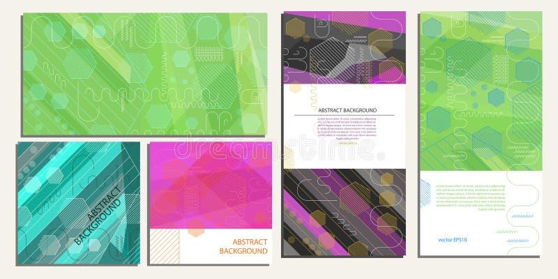 Abstrakcjonistyczny geometryczny tło sześciokąty, linie, lampasy i owale w różnym uses wektorze EPS 10, ilustracja wektor