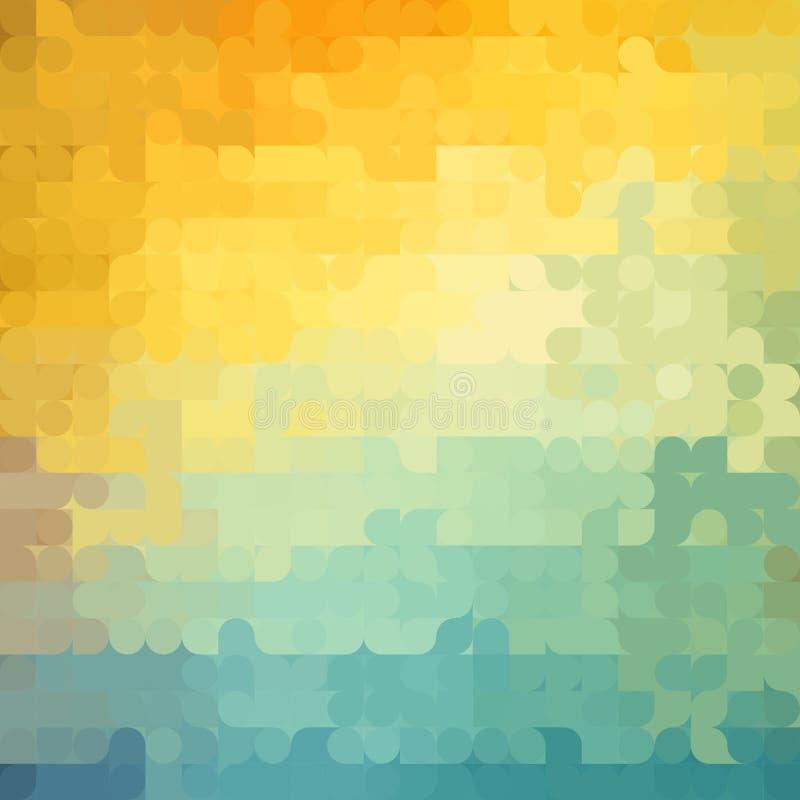 Abstrakcjonistyczny geometryczny tło z pomarańcze, błękita i koloru żółtego okręgami, Lato pogodny projekt royalty ilustracja