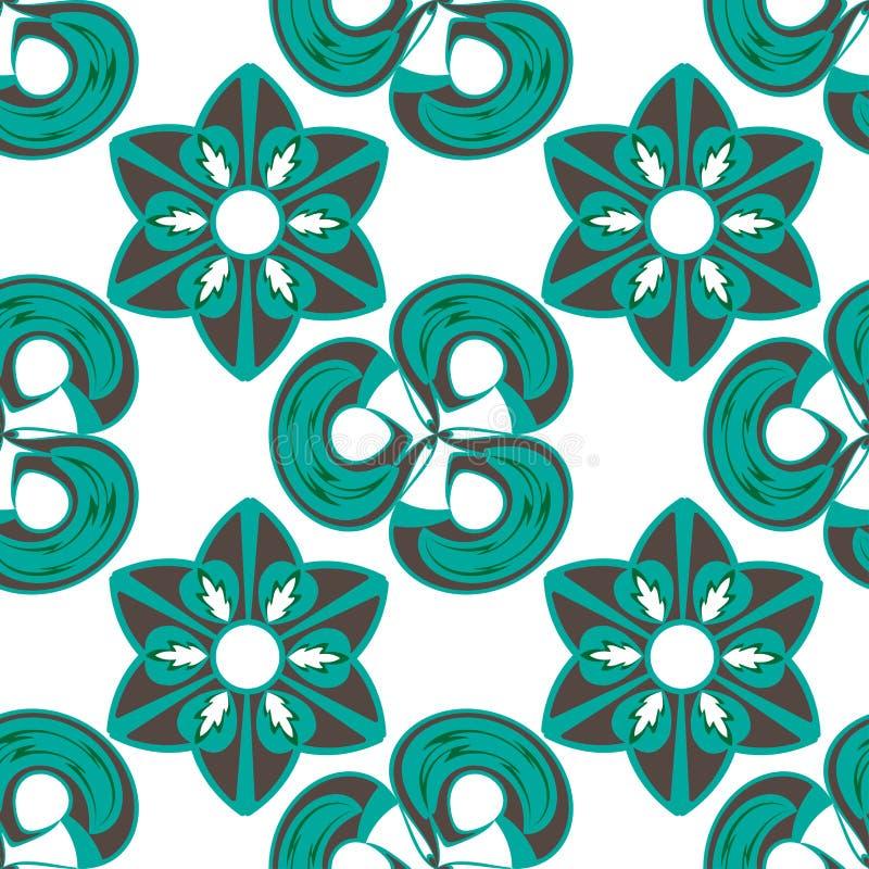 Abstrakcjonistyczny geometryczny wektorowy bezszwowy wzór w zieleni i brązu kolorach ilustracja wektor