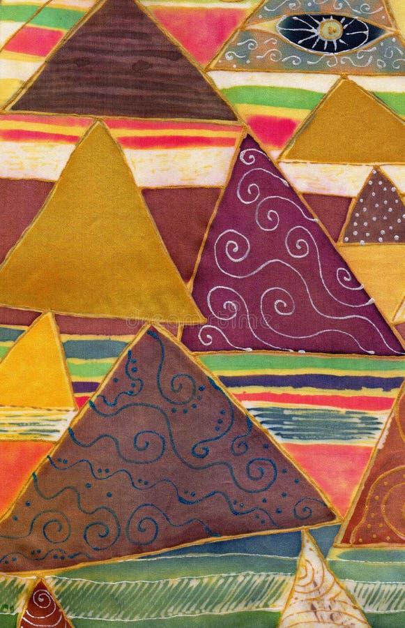 Abstrakcjonistyczny geometryczny wzór na jedwabiu Batik, dekoracyjny skład, akwarela Używa drukowanych materiały, znaki, rzeczy,  ilustracji