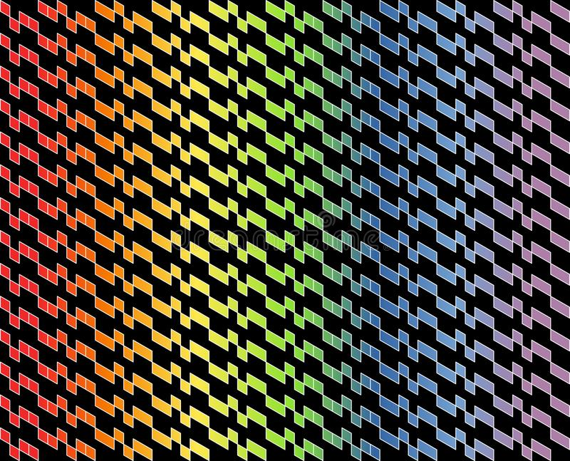 Abstrakcjonistyczny geometryczny wzór w barwiącym gradiencie z cienkimi białymi liniami na czarnym koloru tle - Wektorowa ilustra ilustracja wektor