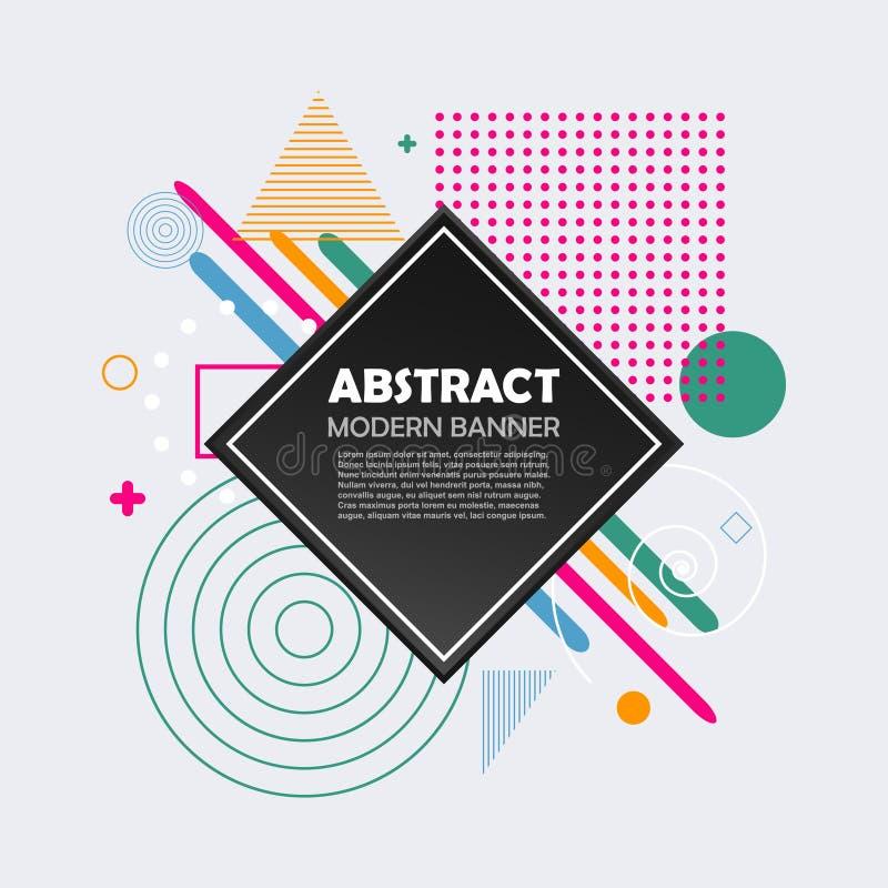 Abstrakcjonistyczny geometryczny wzór z kolorów kształtami Nowożytny modny tło dla projekta sztandaru, biznesowa broszurka, pokry ilustracji