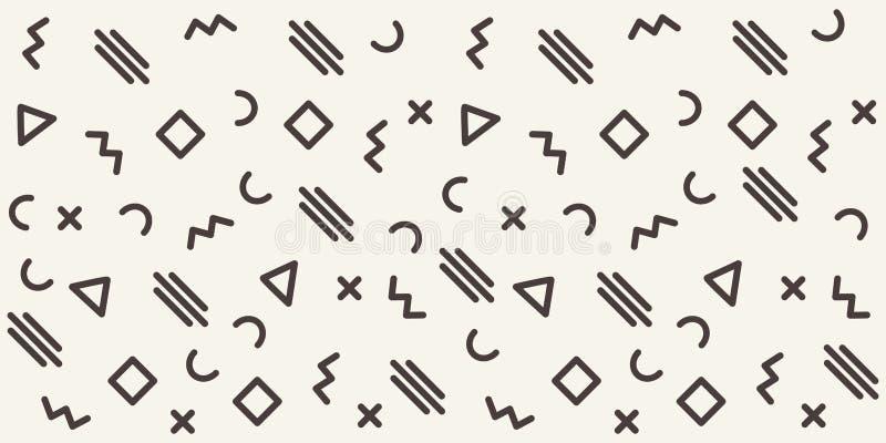 Abstrakcjonistyczny geometryczny wzór z różnymi konturów kształtami tło bezszwowy wektora royalty ilustracja
