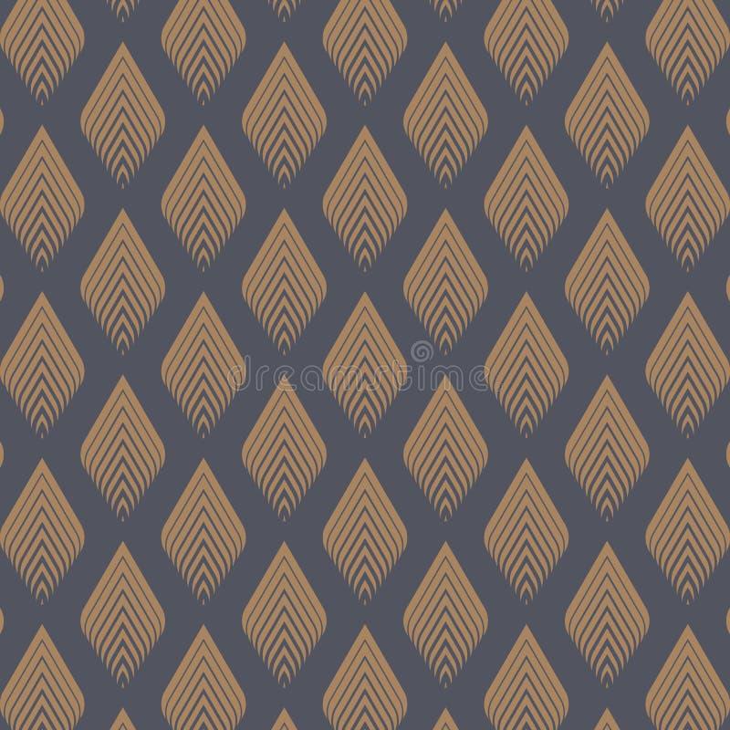 Abstrakcjonistyczny geometryczny wzór z złotym liścia tłem Bezszwowy liniowy wzajemne zrozumienie Elegancka fractal tekstura ilustracji