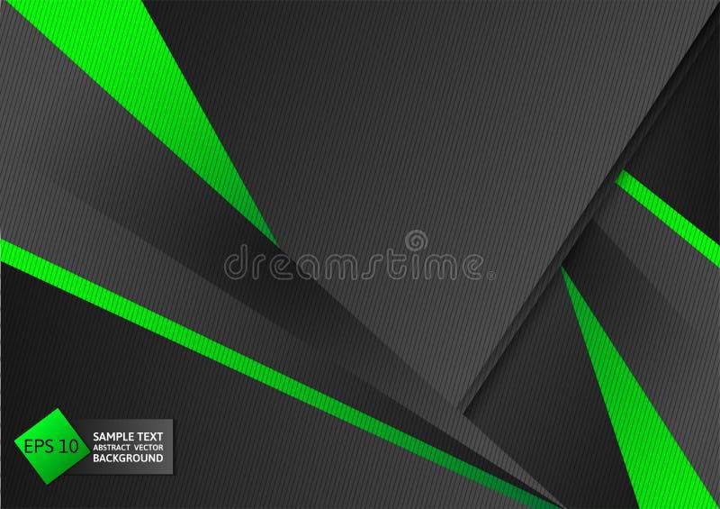 Abstrakcjonistyczny geometryczny zieleni i czerni koloru tło z kopii przestrzenią, Wektorowa ilustracja royalty ilustracja