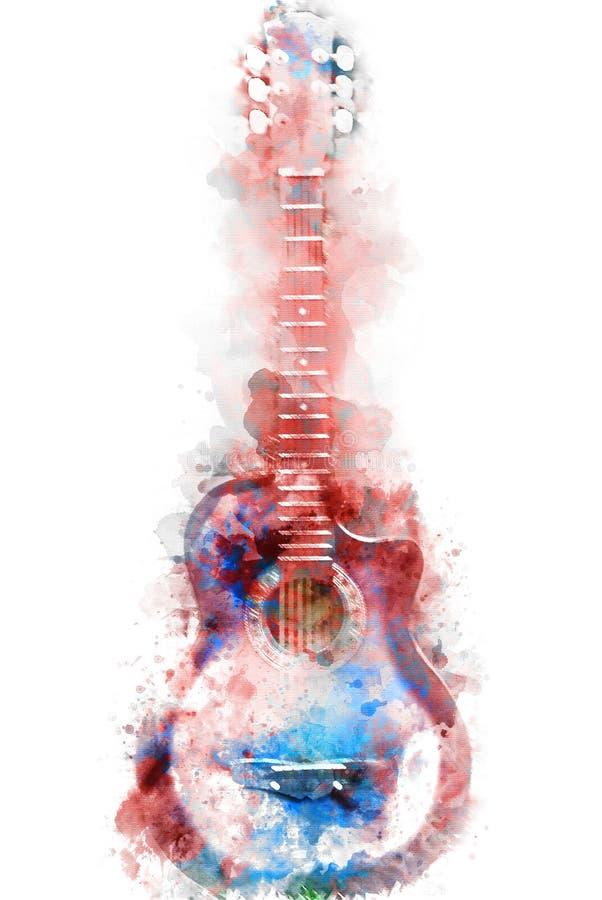 Abstrakcjonistyczny gitary akustycznej akwareli obrazu tło fotografia royalty free