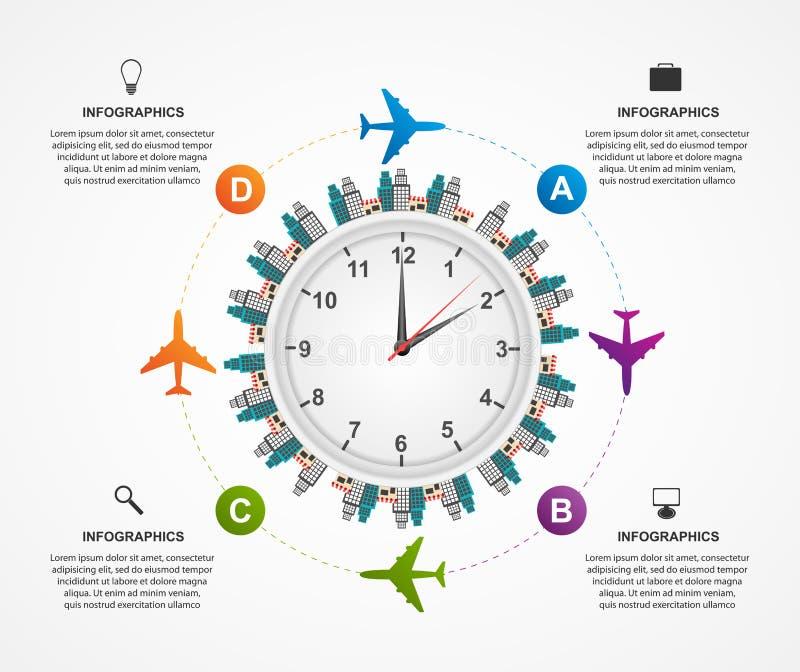 Abstrakcjonistyczny globalny samolotowy infographics projekta szablon royalty ilustracja