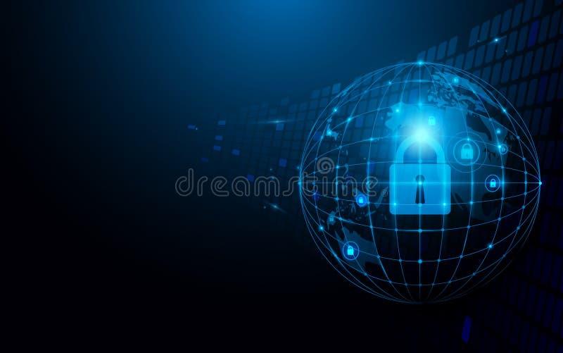 Abstrakcjonistyczny globalny, sieć i ochrona futurystycznej technologii pojęcia podłączeniowy zmrok - błękitny tło ilustracja wektor