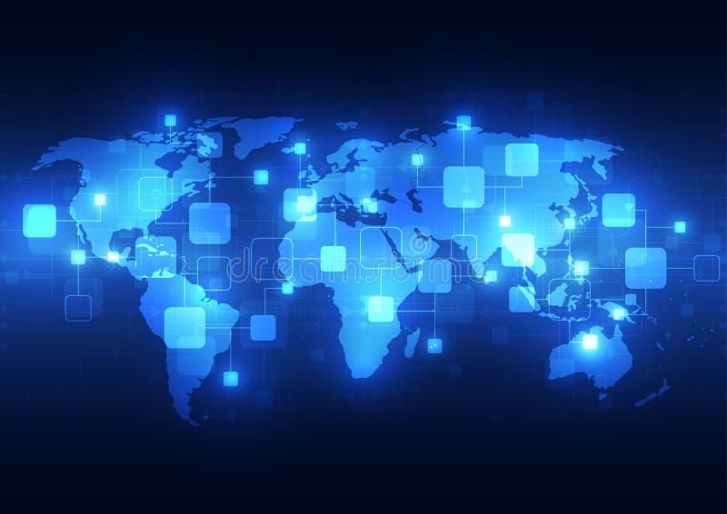 Abstrakcjonistyczny globalny technologii telecoms tło, wektorowa ilustracja ilustracji