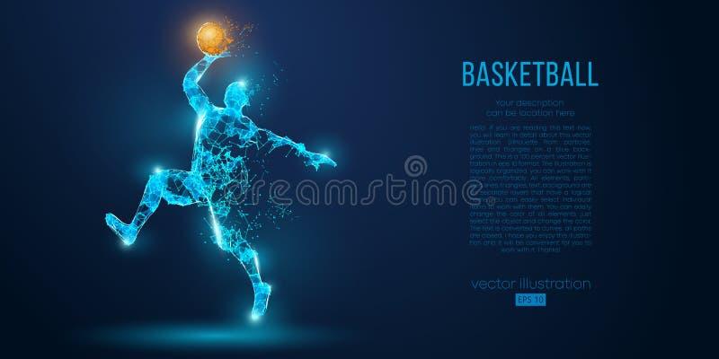 Abstrakcjonistyczny gracz koszykówki od cząsteczek, linii i trójboków na błękitnym tle, Niski poli- neonowy wireframe kontur ilustracji