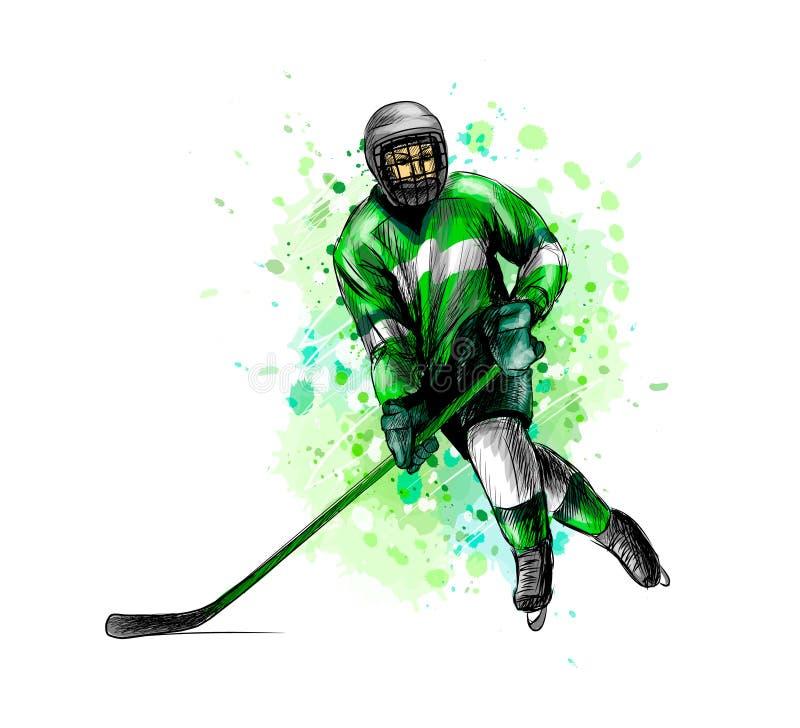 Abstrakcjonistyczny gracz w hokeja od pluśnięcia akwarele Ręka rysujący nakreślenie sport na śnieg na zimę ilustracji