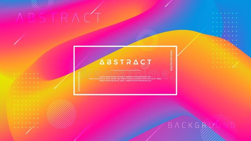 Abstrakcjonistyczny gradient fali tło z kombinacją pomarańcze, menchie, błękit i purpury, Dynamiczny tło koloru przepływ Eps10 We royalty ilustracja