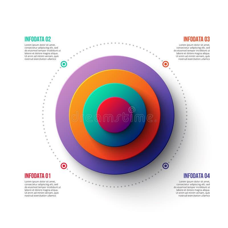 Abstrakcjonistyczny gradientowy diagram z 4 krokami ilustracji
