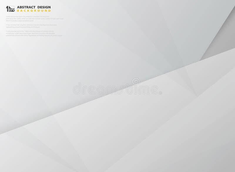 Abstrakcjonistyczny gradientowy szarość i bielu koloru papieru projekta szablonu rżnięty wektor Ilustracyjny wektor eps10 ilustracja wektor