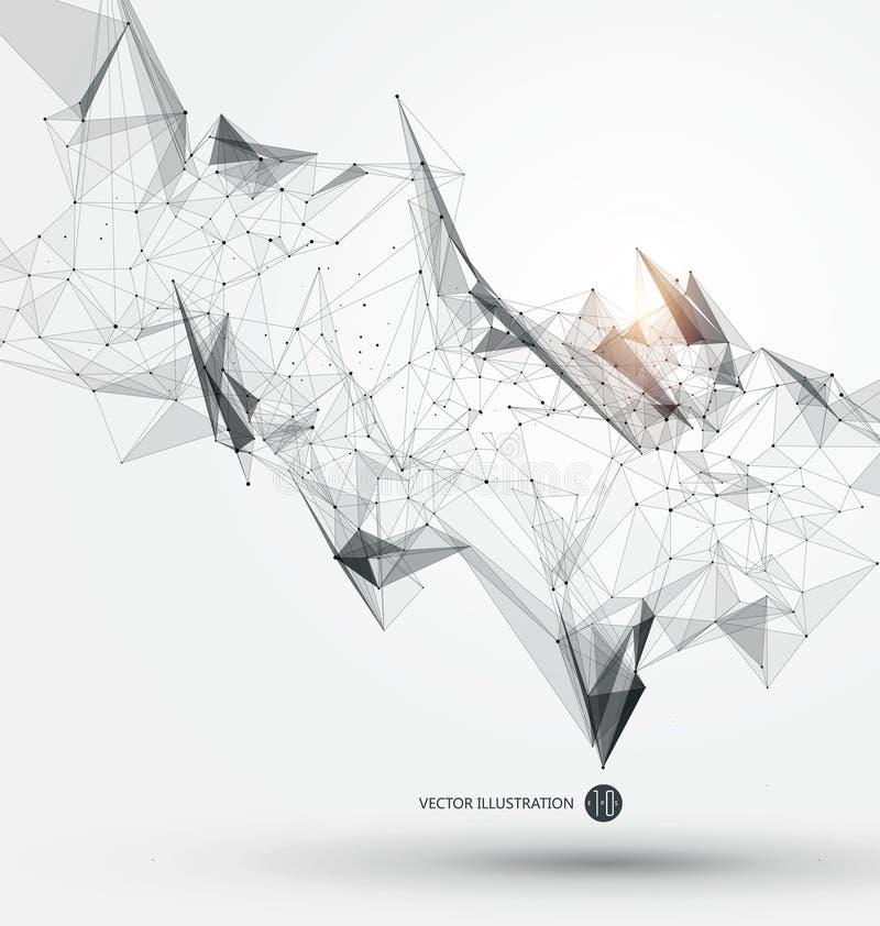 Abstrakcjonistyczny graficzny składać się z punkty, linie i związek, Internetowa technologia royalty ilustracja