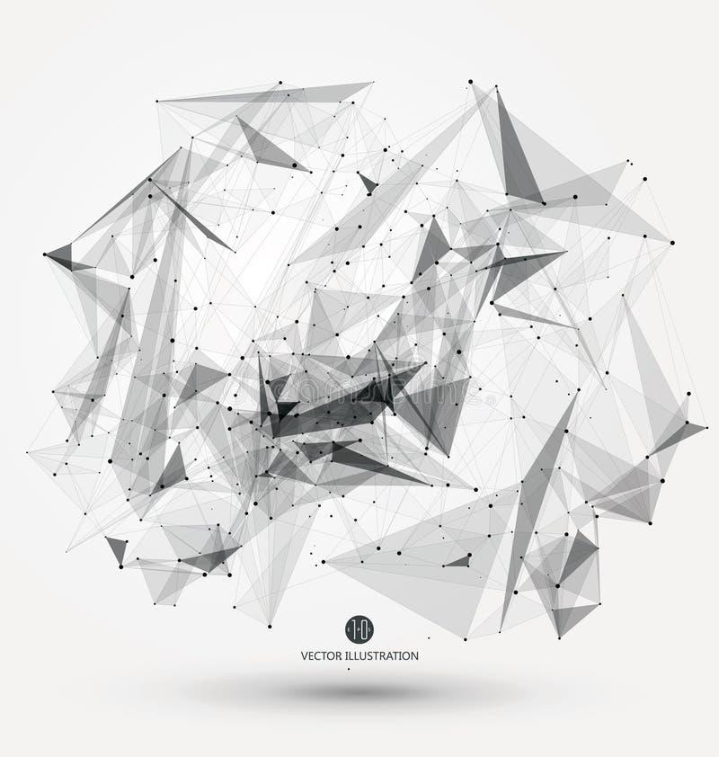 Abstrakcjonistyczny graficzny składać się z punkty, linie i związek, Internetowa technologia ilustracja wektor
