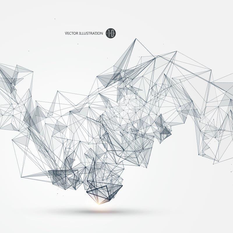 Abstrakcjonistyczny graficzny składać się z punkty, linie i związek, Internetowa technologia ilustracji