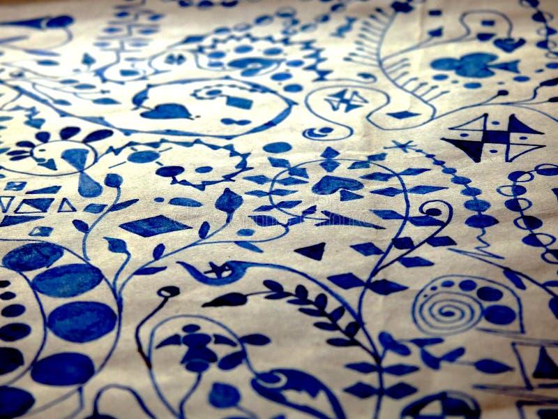Abstrakcjonistyczny grafika atramentu błękitnego papieru biel zdjęcie royalty free