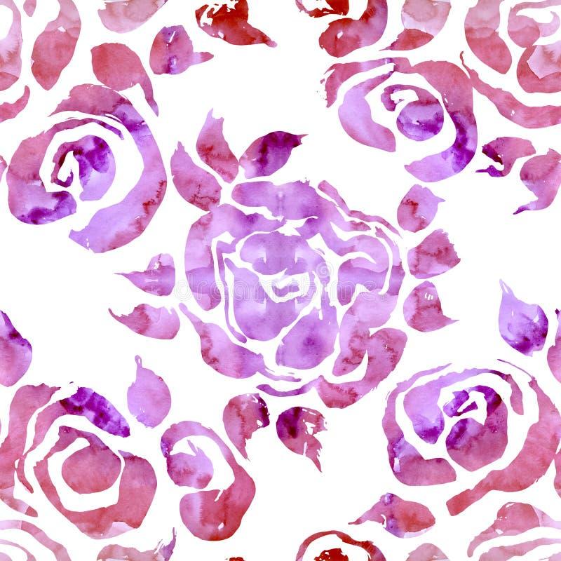 Abstrakcjonistyczny grunge atramentu kwiatu tło Róż menchii muśnięcia bezszwowy wzór beak dekoracyjnego latającego ilustracyjnego royalty ilustracja