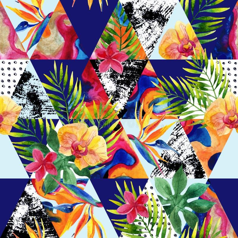 Abstrakcjonistyczny grunge i marmurowi trójboki z tropikalnymi kwiatami, liście ilustracja wektor