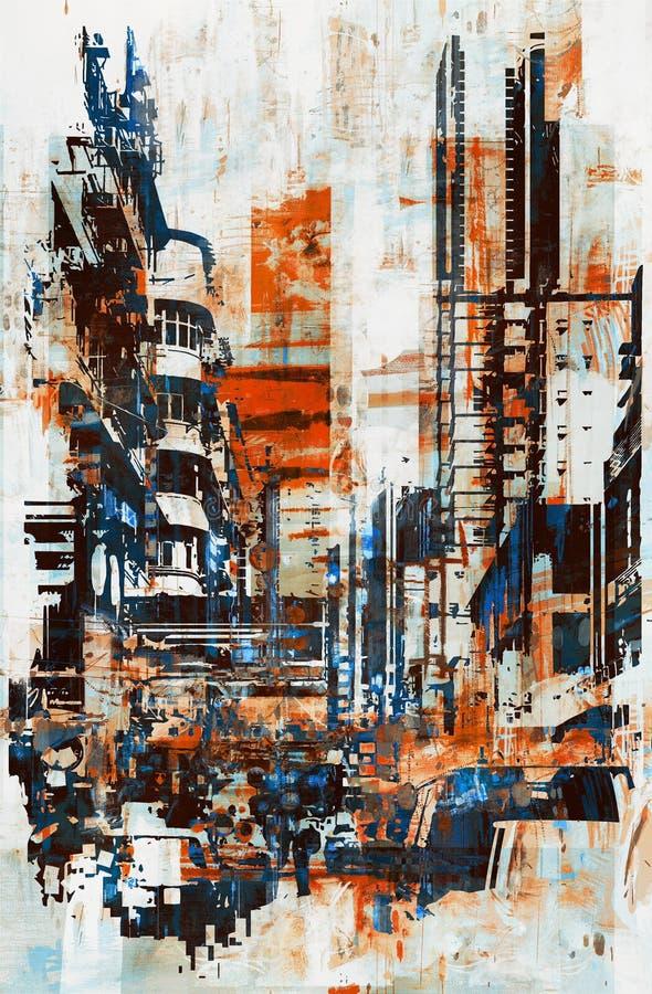 Abstrakcjonistyczny grunge pejzaż miejski royalty ilustracja