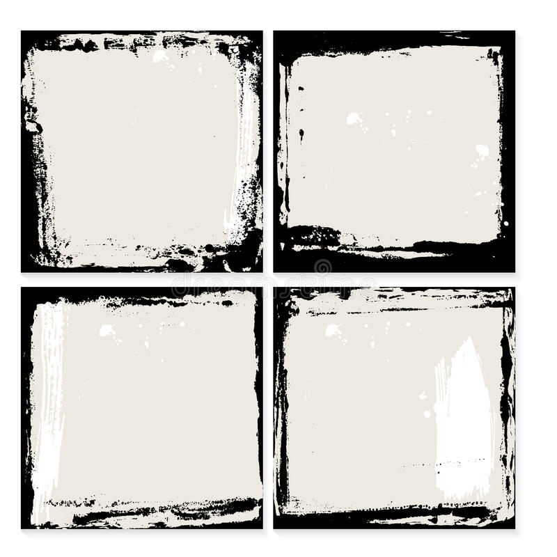 Abstrakcjonistyczny grunge ramy set Czarny i beżowy tło szablon wektor ilustracji