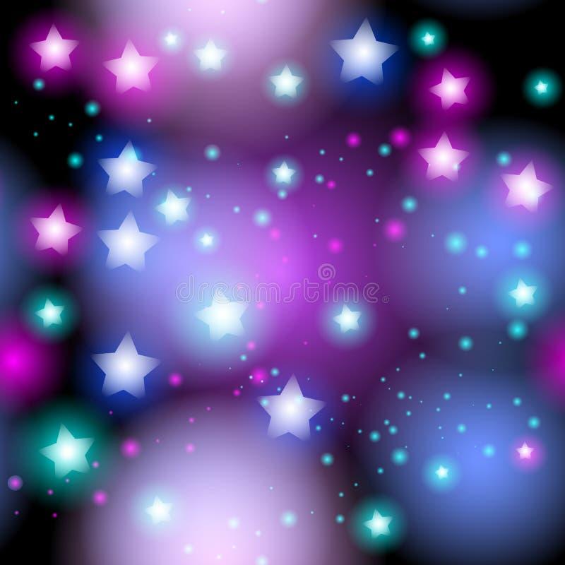 Abstrakcjonistyczny gwiaździsty bezszwowy wzór z neonową gwiazdą na jaskrawych menchiach i bzie, błękitnego czerni tło Galaktyki  royalty ilustracja