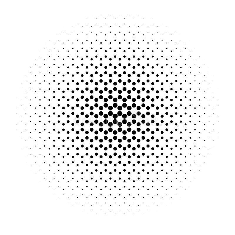 Abstrakcjonistyczny halftone okrąg kropki w promieniowy heksagonalnym Czarny i biały wektorowy ilustracyjny element ilustracji