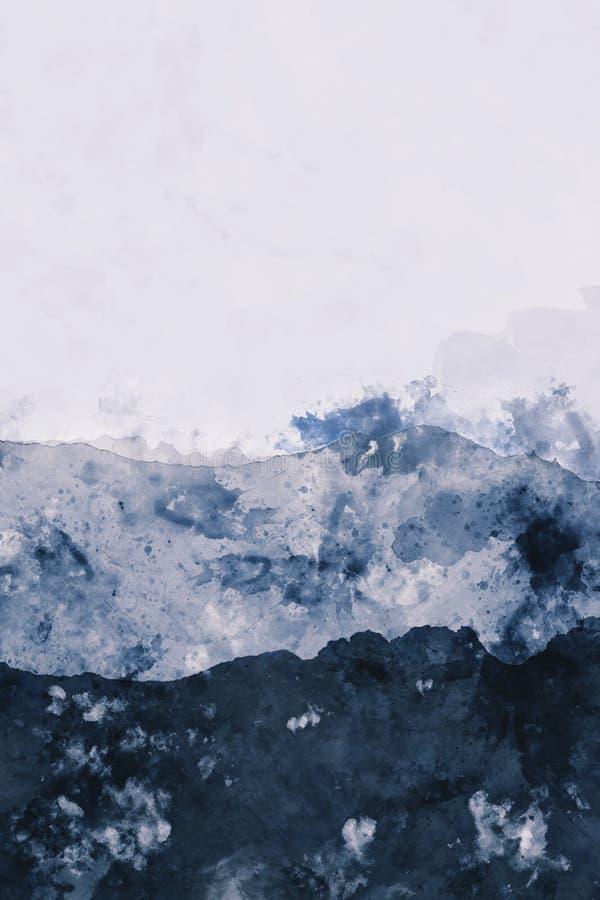Abstrakcjonistyczny halnego szczytu akwareli obraz w błękitnym, cyfrowym illu, ilustracja wektor