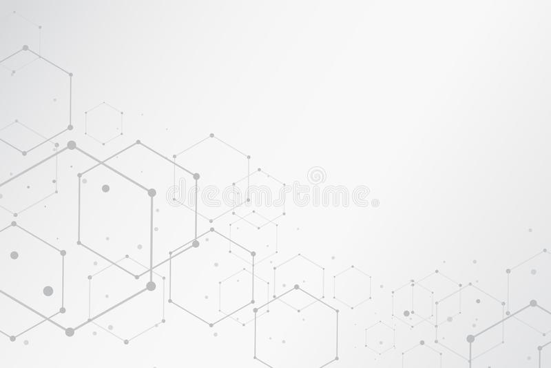 Abstrakcjonistyczny heksagonalny cząsteczkowych struktur tło z odbitkowym zdrojem ilustracji