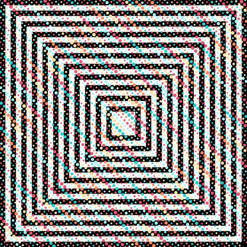 Abstrakcjonistyczny hipnotyczny tło z kontrast liniami i stubarwnymi kropkami royalty ilustracja