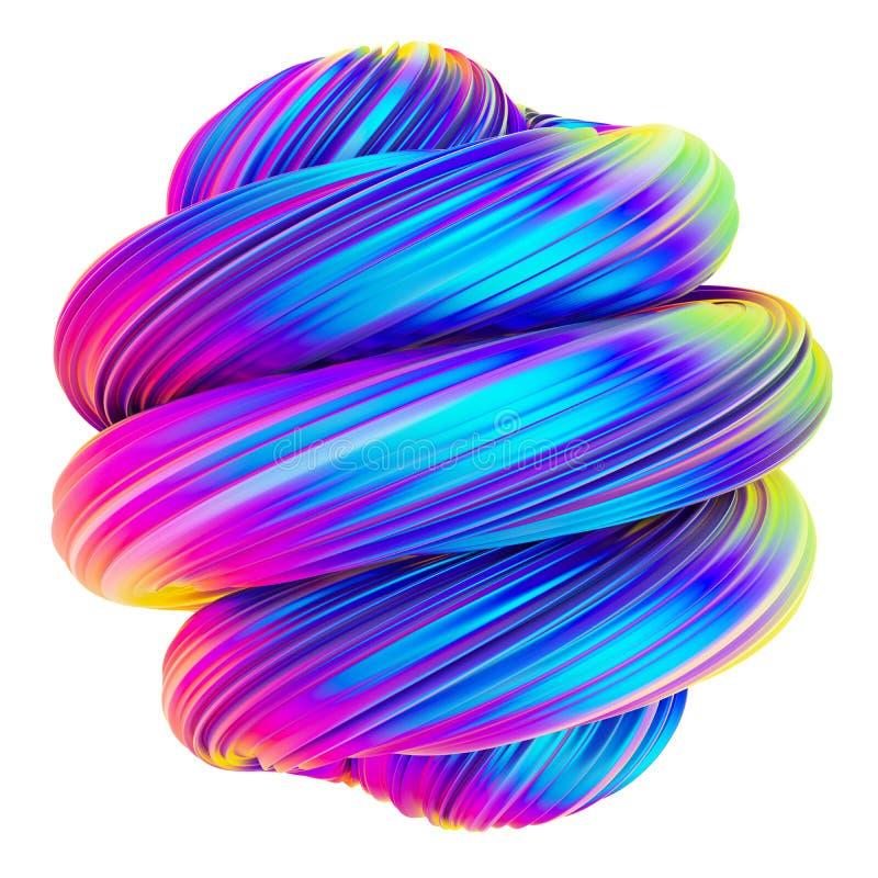 Abstrakcjonistyczny holograficzny kruszcowy kręcony kształt ilustracji