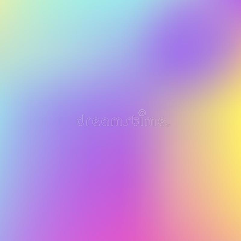 Abstrakcjonistyczny Holograficzny tło w pastelowym neonowym koloru projekcie zamazana tapeta Wektorowa ilustracja dla twój nowoży royalty ilustracja